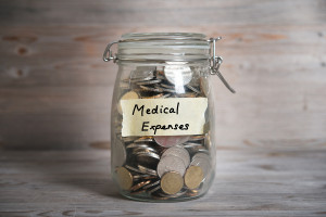 Jar with coins for medical expenses