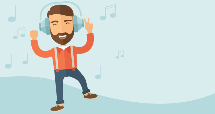 Happy guy motivated by listening to music.