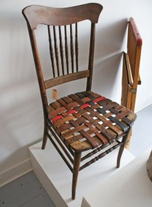 chair made from recycled belts