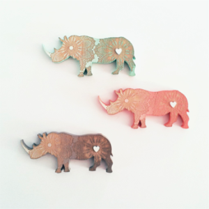 Whimsical Rhino Brooch for R100.