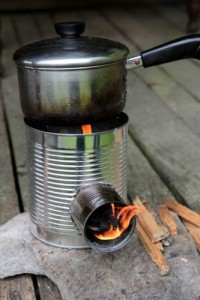 Tin can portable stove for camping