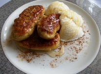 Banana fritters with Amarula and ice cream