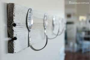 Recycle both wood and spoons with this kitchen hook idea