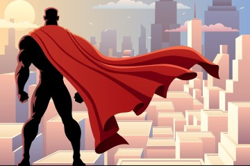 Superhero staring over city
